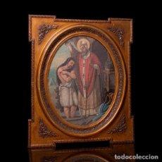 Arte: ANTIGUA PINTURA ÓLEO SOBRE LIENZO ENMARCADO MOLDURA S.XIX.SAN REMIGIO BAUTIZANDO AL REY FRANCO. Lote 278838108