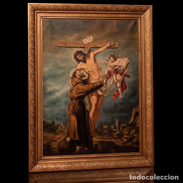 ANTIGUA ÓLEO SOBRE LIENZO SAN FRANCISCO ABRAZANDO A CRISTO EN LA CRUZ (Arte - Arte Religioso - Pintura Religiosa - Oleo)