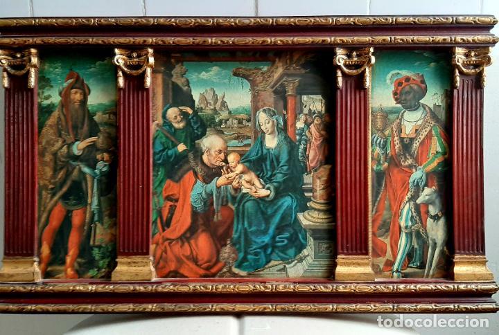 MAGNIFICO RETABLO TRIPTICO RELIGIOSO , LA ADORACION DE LOS REYES MAGOS , (Arte - Arte Religioso - Trípticos)
