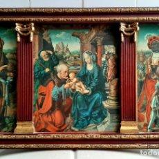 Art: MAGNIFICO RETABLO TRIPTICO RELIGIOSO , LA ADORACION DE LOS REYES MAGOS ,. Lote 266754828