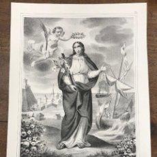 Arte: LITOGRAFIA RELIGIOSA STA. MADRONA, VIRGEN Y MARTIR. HIJA Y PATRONA DE BARCELONA. L. TURGIS. Lote 267026374