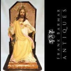 Arte: SAGRADO CORAZÓN DE JESÚS - CRISTO REY DE OLOT SELLADO 44 CM (55 CON PEANA).. Lote 267086929