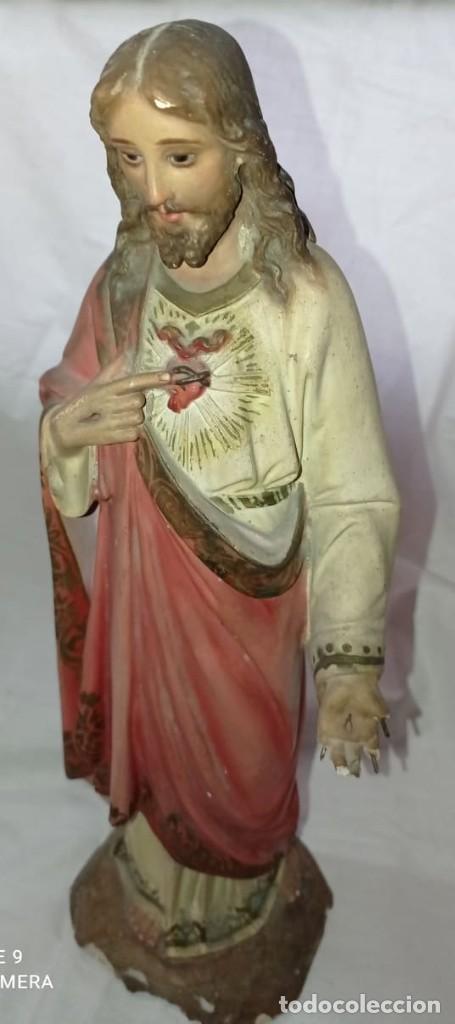 Arte: SAGRADO CORAZON EN ESCAYOLA - OLOT - Foto 4 - 267427209