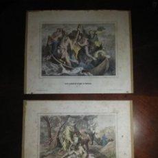 Arte: DOS LITOGRAFIAS ANTIGUAS: JESUS EN EL LAGO Y EL BUEN SAMARITANO.. Lote 267519799