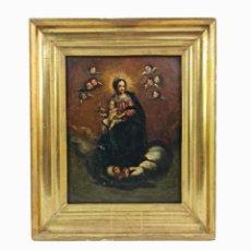Arte: OLEO SOBRE COBRE. VIRGEN CON NIÑO. MARCO MADERA Y LATÓN. SPAIN CA 1780. MADONNA. OIL ON COPPER.. Lote 267789964