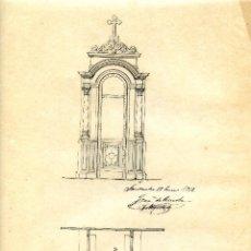 Arte: ARQUITECTO JOAQUÍN RUCOBA, SANTANDER 1912, DISEÑO ORIGINAL DE UN CONFESIONARIO, LAREDO BILBAO MÁLAGA. Lote 267832219