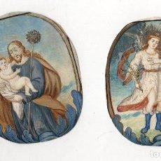 Art: LOTE DE 2 GRABADOS RELIGIOSOS COLOREADOS A MANO. SIGLO XVIII. Lote 268038689