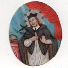 Arte: GRABADO RELIGIOSO COLOREADO A MANO SOBRE VITELA. SIGLO XVIII. Lote 268039129