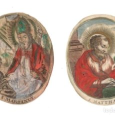 Art: LOTE DE 2 GRABADOS RELIGIOSOS S. MATEO Y S. MARTIN. COLOREADOS A MANO SOBRE VITELA. SIGLO XVIII. Lote 268039634