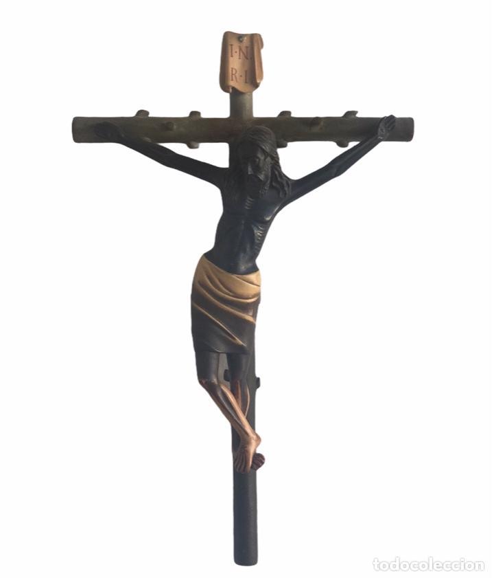 GRAN CRISTO CRUCIFICADO NEGRO, CACERES. ESTUCO POLICROMADO FINALES DEL SIGLO XIX. VER FOTOS. (Arte - Arte Religioso - Escultura)