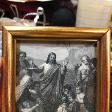 Arte: GRABADO RELIGIOSO CON MARCO DE MADERA Y DORADO - MEDIDA 11X10X5 CM. Lote 268430994