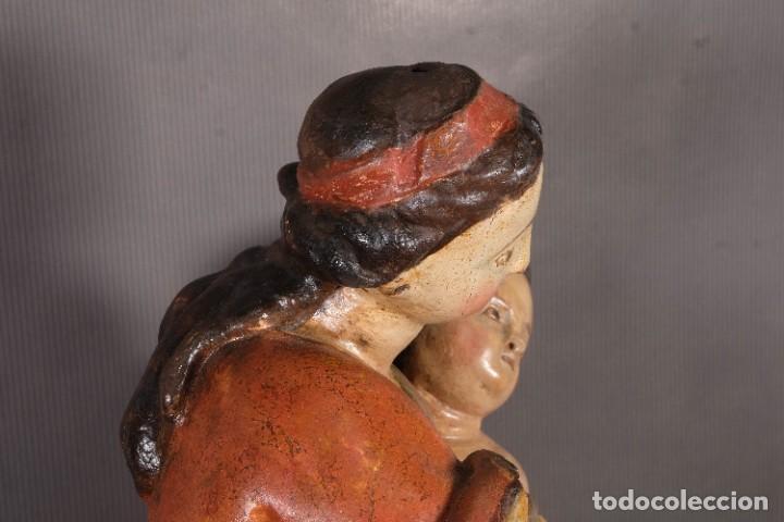 Arte: Virgen con niño en madera policromada siglo XVIII - Foto 10 - 268449879