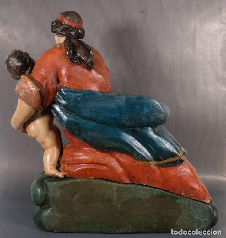 Arte: Virgen con niño en madera policromada siglo XVIII - Foto 16 - 268449879
