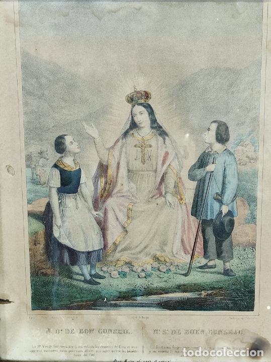 Arte: Antiguo Grabado Coloreado - Nuestra Señora del buen Consejo - con Marco - S. XIX - Foto 3 - 268569269