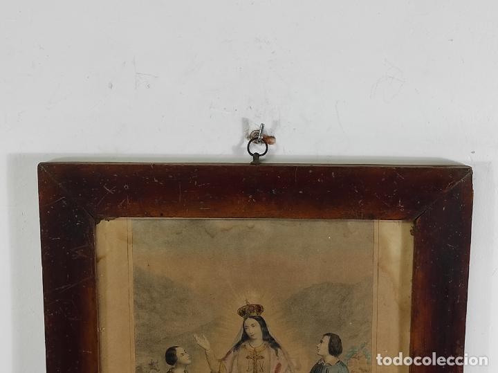 Arte: Antiguo Grabado Coloreado - Nuestra Señora del buen Consejo - con Marco - S. XIX - Foto 7 - 268569269