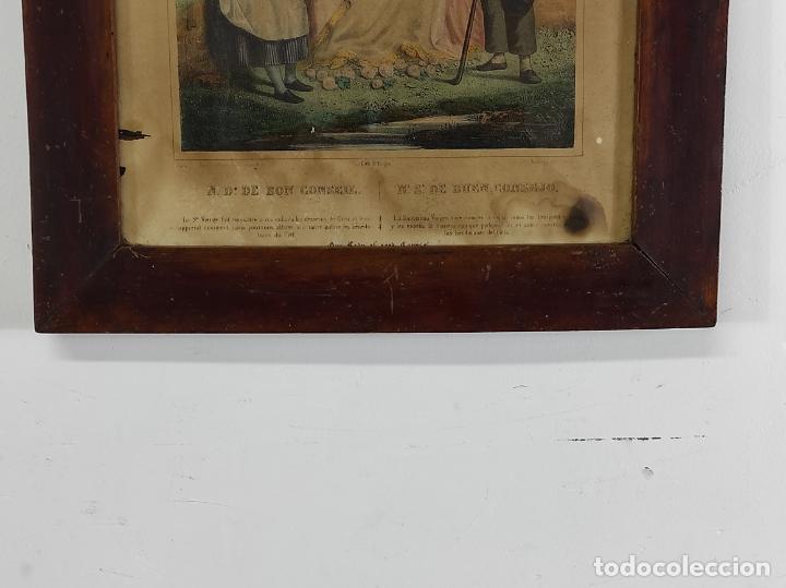 Arte: Antiguo Grabado Coloreado - Nuestra Señora del buen Consejo - con Marco - S. XIX - Foto 8 - 268569269