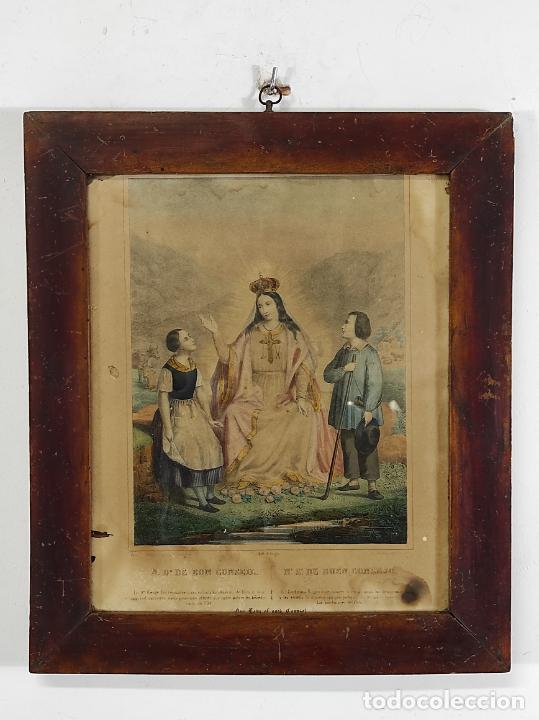 Arte: Antiguo Grabado Coloreado - Nuestra Señora del buen Consejo - con Marco - S. XIX - Foto 10 - 268569269