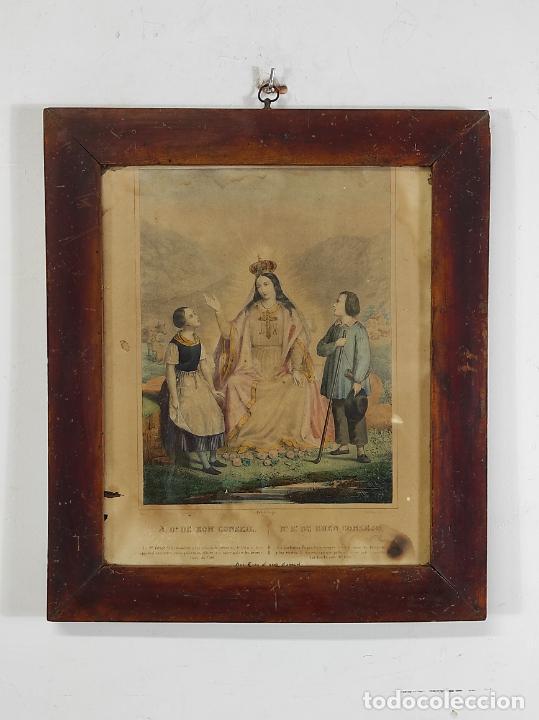 ANTIGUO GRABADO COLOREADO - NUESTRA SEÑORA DEL BUEN CONSEJO - CON MARCO - S. XIX (Arte - Arte Religioso - Grabados)
