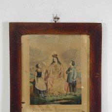 Arte: ANTIGUO GRABADO COLOREADO - NUESTRA SEÑORA DEL BUEN CONSEJO - CON MARCO - S. XIX. Lote 268569269