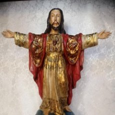 Arte: TALLA EN MADERA CORAZON DE JESUS. MADERA CEDRO RICAMENTE POLICROMADA. Lote 268931489