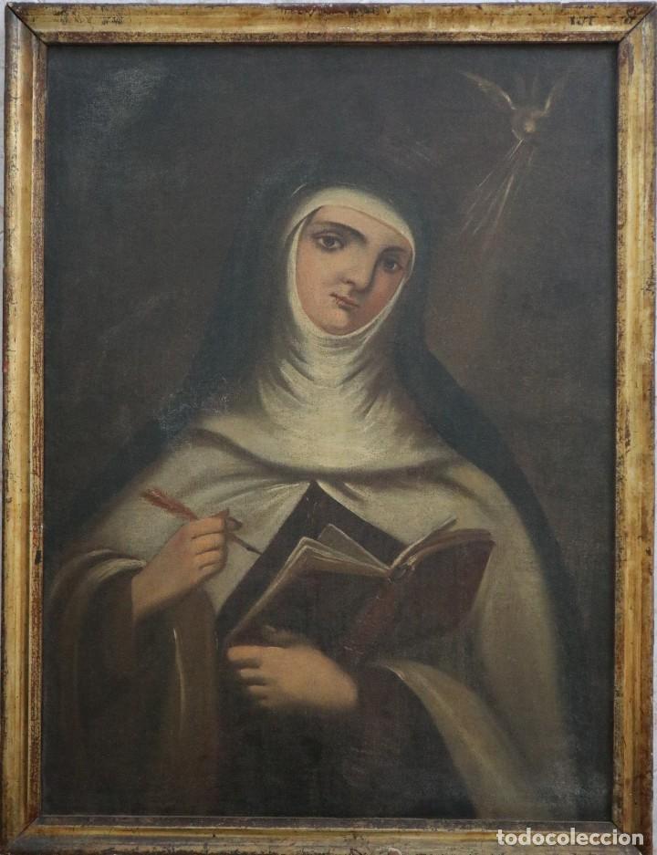 SANTA TERESA DE JESÚS. Ó/L. ESCUELA ESPAÑOLA DEL SIGLO XVIII. MIDE 80 X 59 CM. (Arte - Arte Religioso - Pintura Religiosa - Oleo)