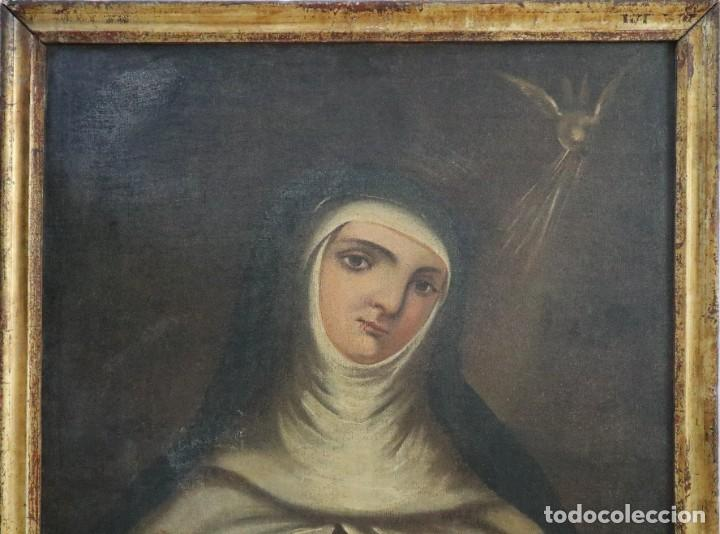 Arte: Santa Teresa de Jesús. Ó/L. Escuela Española del siglo XVIII. Mide 80 x 59 cm. - Foto 2 - 269167028