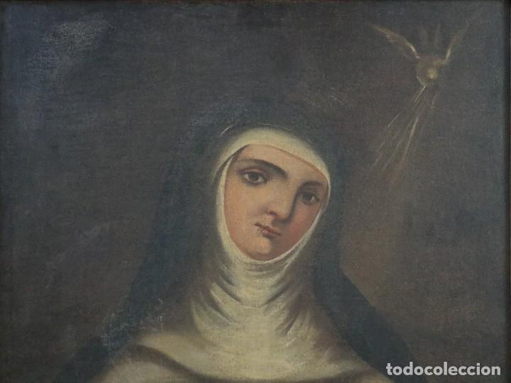 Arte: Santa Teresa de Jesús. Ó/L. Escuela Española del siglo XVIII. Mide 80 x 59 cm. - Foto 3 - 269167028