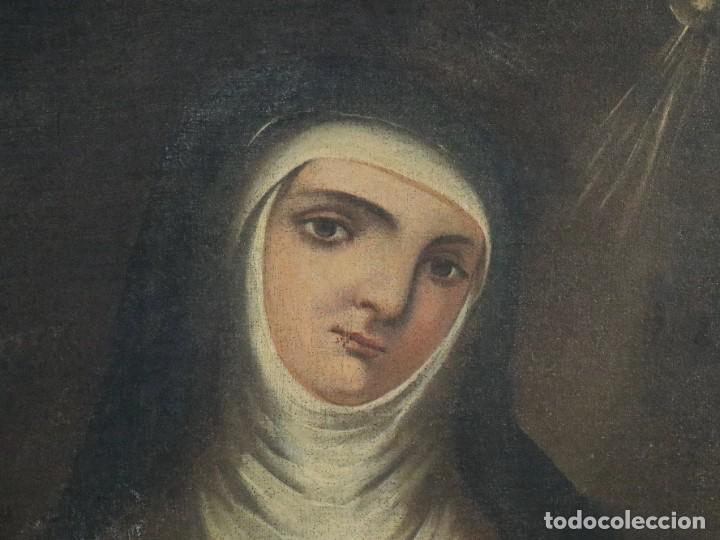 Arte: Santa Teresa de Jesús. Ó/L. Escuela Española del siglo XVIII. Mide 80 x 59 cm. - Foto 4 - 269167028