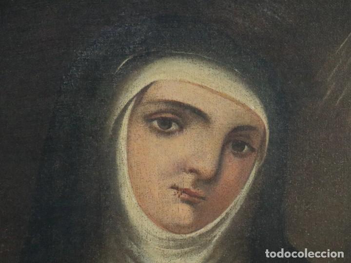 Arte: Santa Teresa de Jesús. Ó/L. Escuela Española del siglo XVIII. Mide 80 x 59 cm. - Foto 5 - 269167028