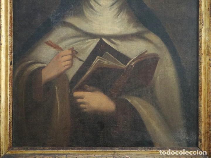 Arte: Santa Teresa de Jesús. Ó/L. Escuela Española del siglo XVIII. Mide 80 x 59 cm. - Foto 6 - 269167028