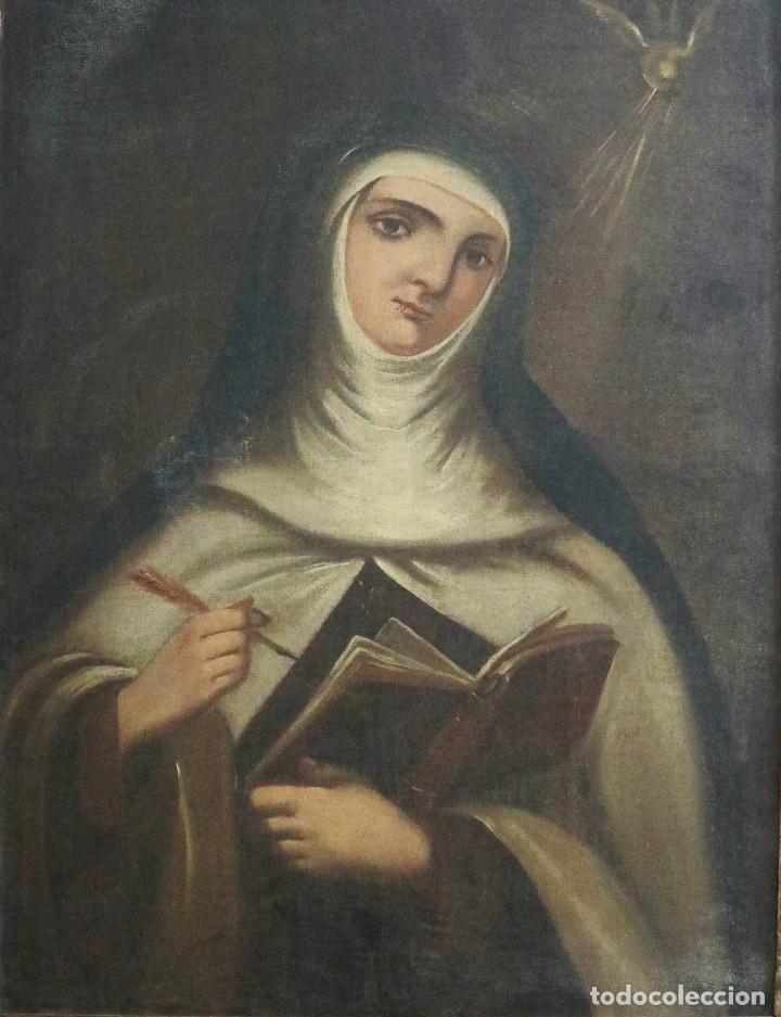 Arte: Santa Teresa de Jesús. Ó/L. Escuela Española del siglo XVIII. Mide 80 x 59 cm. - Foto 12 - 269167028