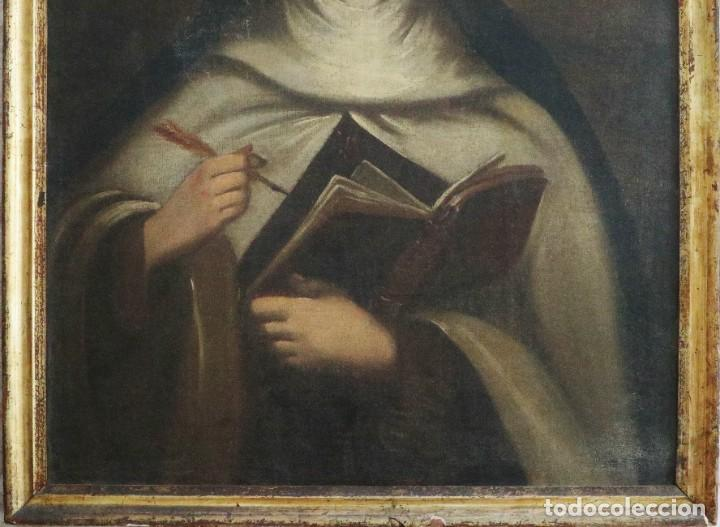 Arte: Santa Teresa de Jesús. Ó/L. Escuela Española del siglo XVIII. Mide 80 x 59 cm. - Foto 13 - 269167028
