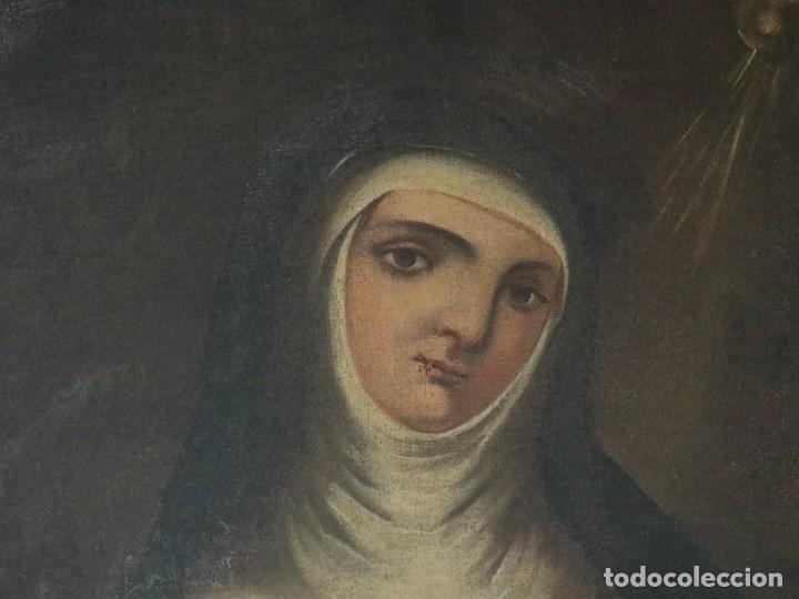 Arte: Santa Teresa de Jesús. Ó/L. Escuela Española del siglo XVIII. Mide 80 x 59 cm. - Foto 15 - 269167028