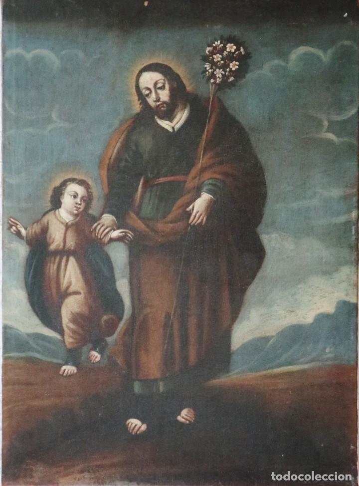 SAN JOSÉ CON EL NIÑO JESÚS. Ó/L SIGUIENDO MODELOS DE MURILLO. SIGLO XVIII. MIDE 87 X 63 CM. (Arte - Arte Religioso - Pintura Religiosa - Oleo)