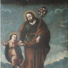 Arte: SAN JOSÉ CON EL NIÑO JESÚS. Ó/L SIGUIENDO MODELOS DE MURILLO. SIGLO XVIII. MIDE 87 X 63 CM.. Lote 269317943