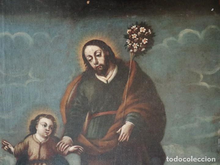 Arte: San José con el Niño Jesús. Ó/L siguiendo modelos de Murillo. Siglo XVIII. Mide 87 x 63 cm. - Foto 2 - 269317943