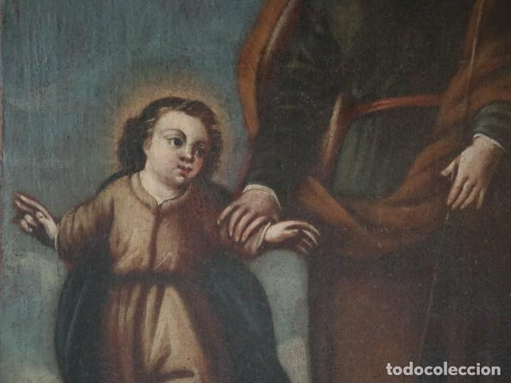 Arte: San José con el Niño Jesús. Ó/L siguiendo modelos de Murillo. Siglo XVIII. Mide 87 x 63 cm. - Foto 3 - 269317943