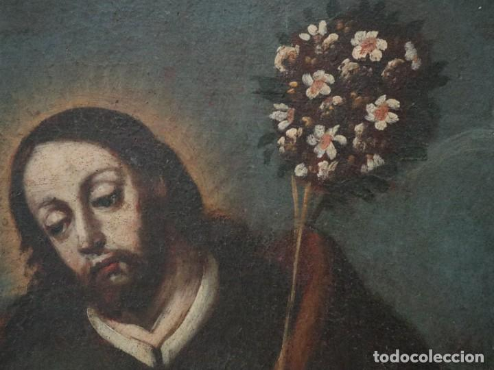 Arte: San José con el Niño Jesús. Ó/L siguiendo modelos de Murillo. Siglo XVIII. Mide 87 x 63 cm. - Foto 7 - 269317943