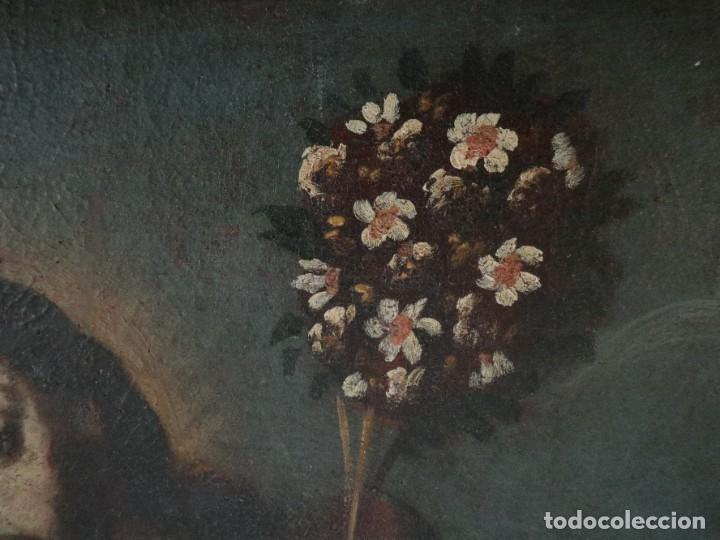 Arte: San José con el Niño Jesús. Ó/L siguiendo modelos de Murillo. Siglo XVIII. Mide 87 x 63 cm. - Foto 9 - 269317943