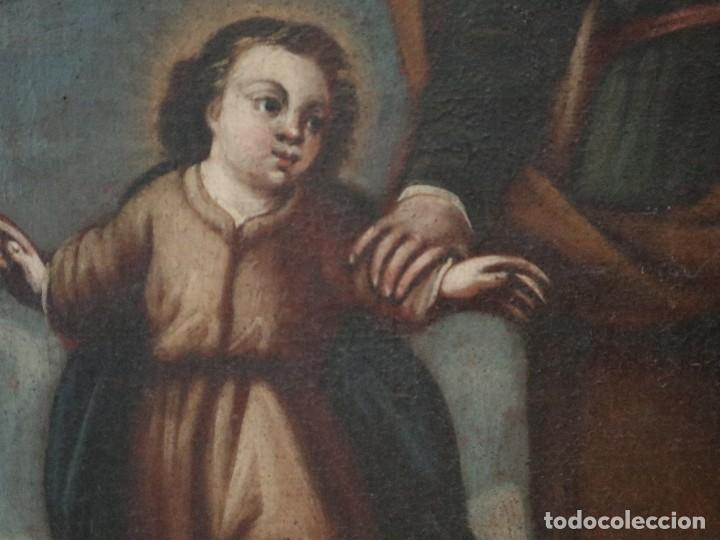 Arte: San José con el Niño Jesús. Ó/L siguiendo modelos de Murillo. Siglo XVIII. Mide 87 x 63 cm. - Foto 13 - 269317943