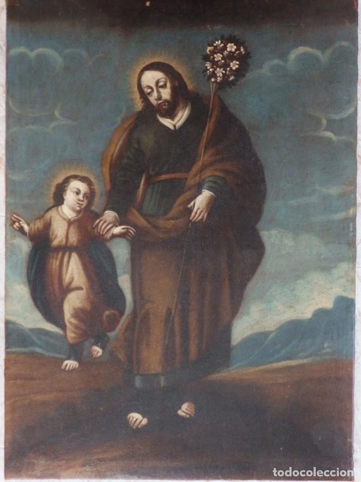 Arte: San José con el Niño Jesús. Ó/L siguiendo modelos de Murillo. Siglo XVIII. Mide 87 x 63 cm. - Foto 14 - 269317943