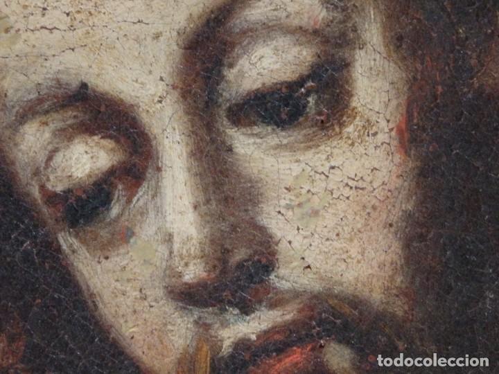 Arte: San José con el Niño Jesús. Ó/L siguiendo modelos de Murillo. Siglo XVIII. Mide 87 x 63 cm. - Foto 17 - 269317943