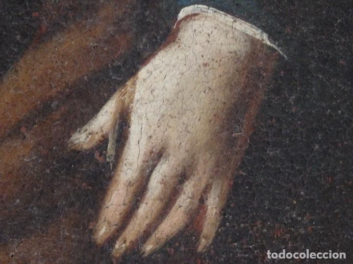 Arte: San José con el Niño Jesús. Ó/L siguiendo modelos de Murillo. Siglo XVIII. Mide 87 x 63 cm. - Foto 19 - 269317943