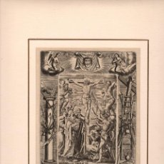 Arte: GRABADO RELIGIOSO MUERTE DE JESUCRISTO. MATEO CAP. XXVII, V. 38. SIGLO XVIII. Lote 269355253