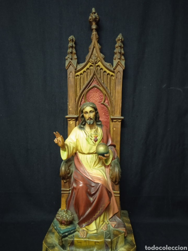 ANTIGUA FIGURA RELIGIOSA SAGRADO CORAZÓN DE JESÚS (Arte - Arte Religioso - Escultura)