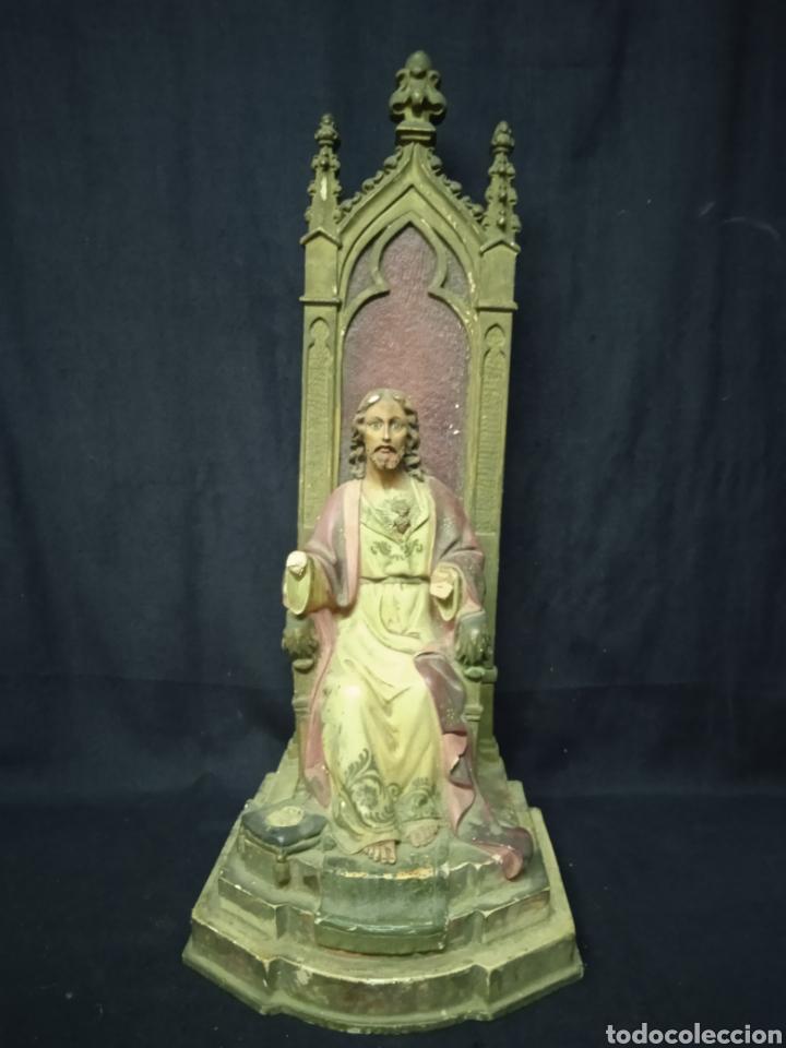 FIGURA ANTIGUA DE CORAZÓN DE JESÚS (Arte - Arte Religioso - Escultura)