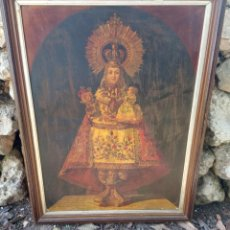 Arte: 94 CM - VIRGEN DE COVADONGA LA SANTINA. LITOGRAFÍA S.XIX - CARTA DEL OBISPO DE OVIEDO 1889. Lote 269802733
