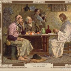"Arte: 1927, LÁMINA ANTIGUA , ""CRISTO EN EMMAÚS"", JULIO GARI MELCHERS, 31X23 CMS.. Lote 269813518"