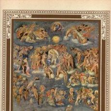 """Arte: 1927, LÁMINA ANTIGUA , """"EL JUICIO FINAL"""", MIGUEL ANGEL, 23X31 CMS.. Lote 269814358"""