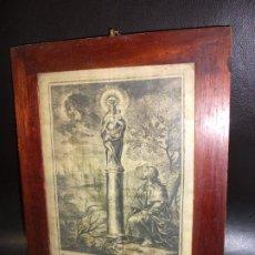 Arte: SIGLO XIX GRABADO SOBRE SEDA VIRGEN NUESTRA SEÑORA DEL PILAR DE ZARAGOZA ENMARCADO - RELIGION. Lote 270086828
